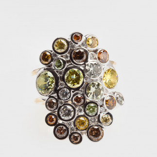 Assymetric Ring With Color Diamonds