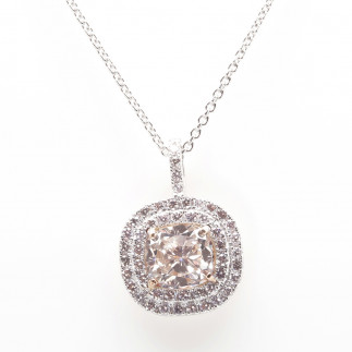 Pink Cushion Diamond Pendant