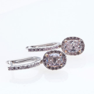 Pink Oval Diamond Earrings