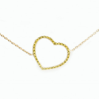 Yellow Diamonds Heart Necklace
