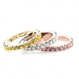 Colored Diamond Eternity Rings Set
