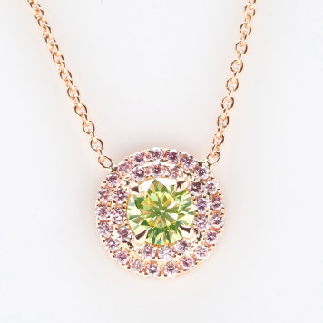 Lime Green Diamond Pendant with Double Pink Halo