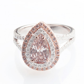 Pink Pear Diamond Ring