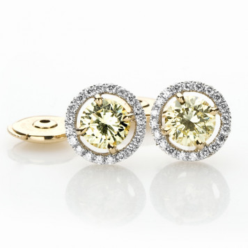 Fancy Yellow Diamond Earrings With a White Diamond Halo