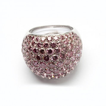 Dark Pink Diamonds Pavé-Set Ring