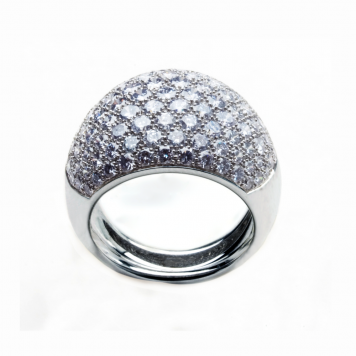 Pave Diamond Ring With Rare Blue Diamonds