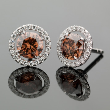 Chocolate Diamond Stud Earrings with a White Diamond Halo