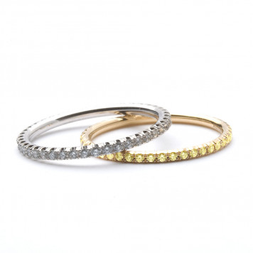 White and Yellow Diamonds Eternity Rings