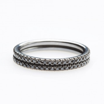 Stackable Black Diamond Eternity Wedding Rings