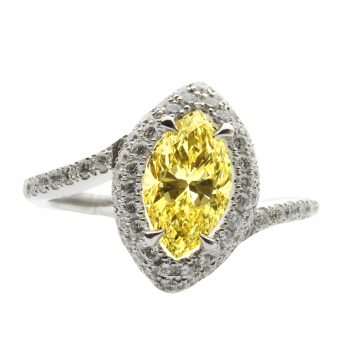 Marquise Diamond Engagement Ring in Vivid Yellow Color