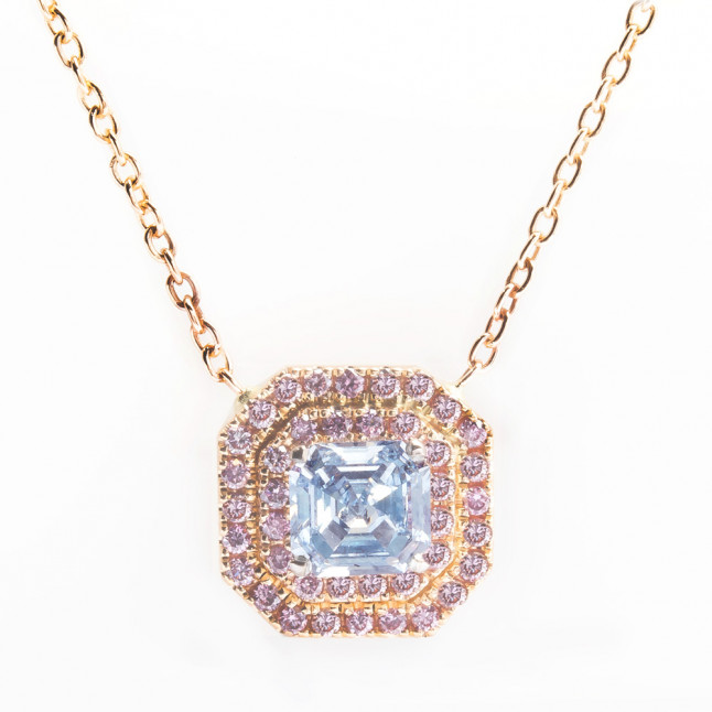 Fancy Blue Ascher Cut Diamond & Double Pink Halo Pendant