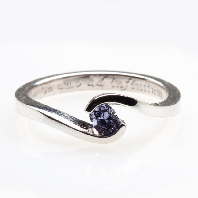Blue Diamond Tension Set Ring