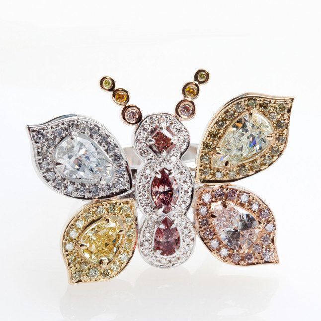 Multicolor Diamond Butterfly Ring
