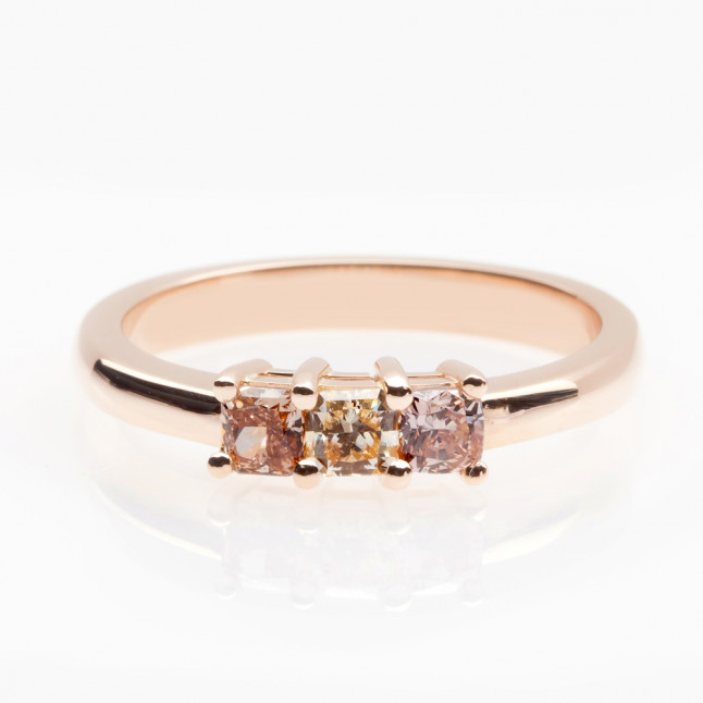 Gold Ring with Three Square Diamonds