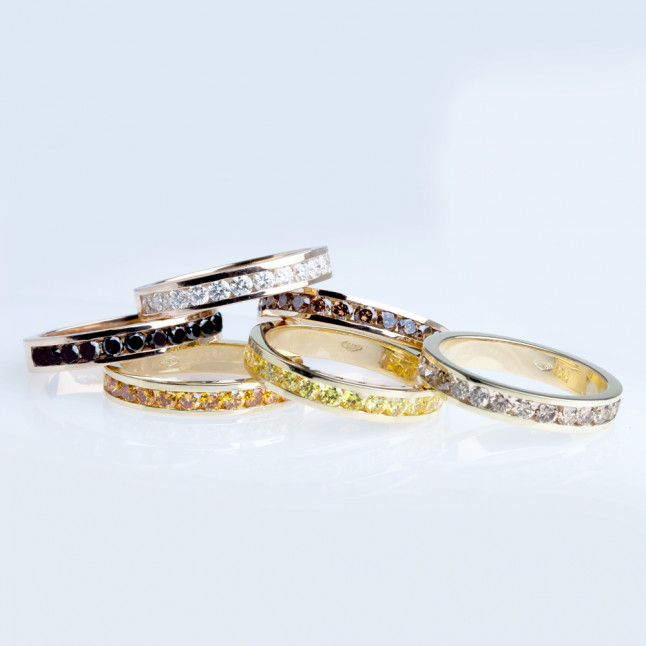 Channel-set Colored Diamond Rings