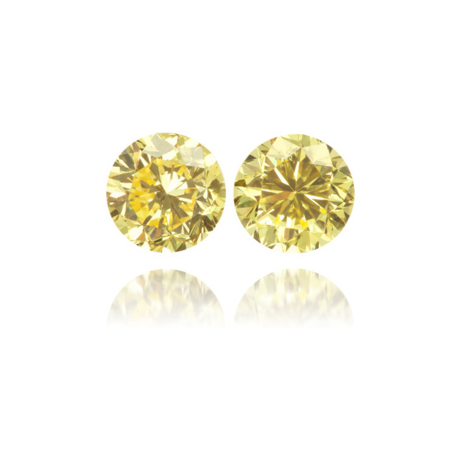 Natural Yellow Diamond Round 0.70 ct Set