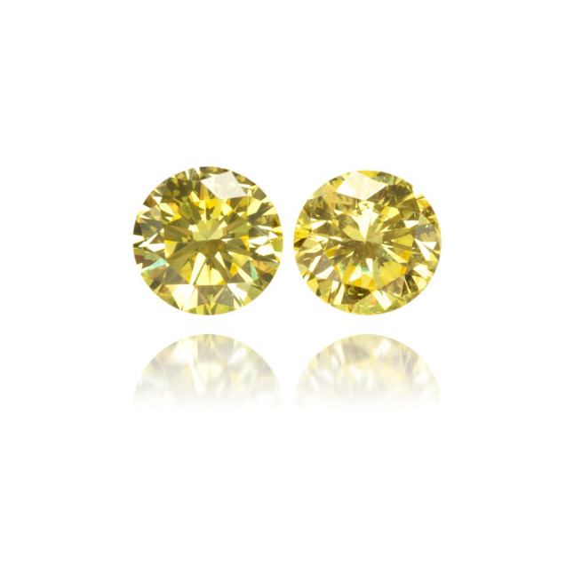 Natural Yellow Diamond Round 0.26 ct Set