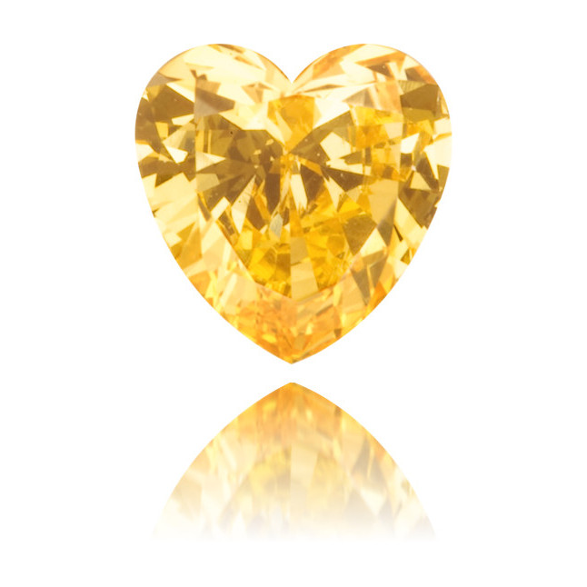 Natural Orange Diamond Heart Shape 0.33 ct Polished