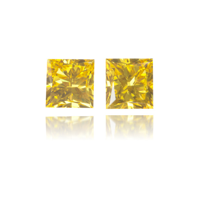 Natural Yellow Diamond Square 0.69 ct Set