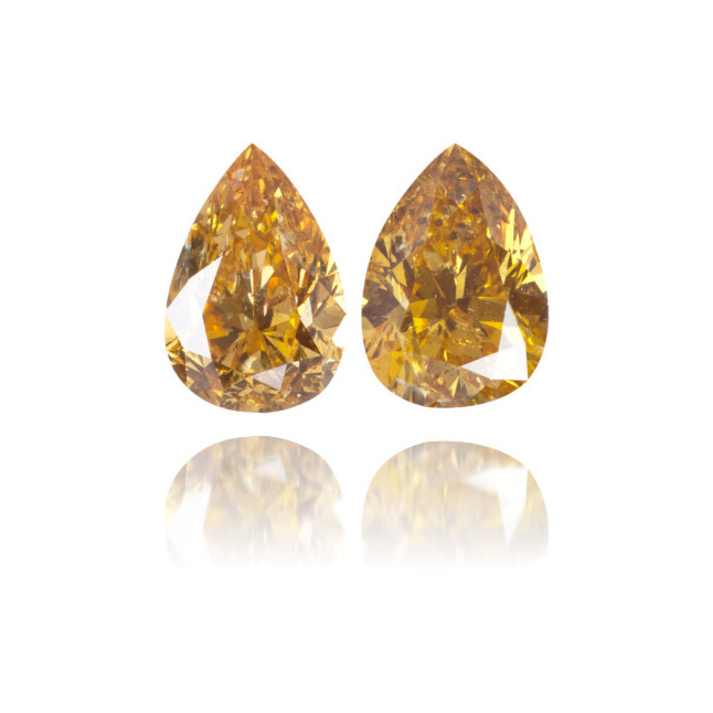 Natural Orange Diamond Pear Shape 2.02 ct Set