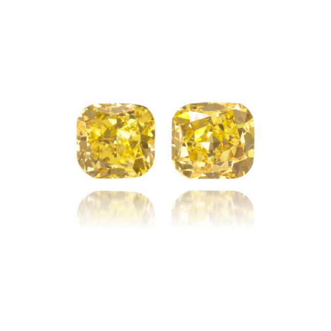 Natural Yellow Diamond Cushion 0.43 ct Set