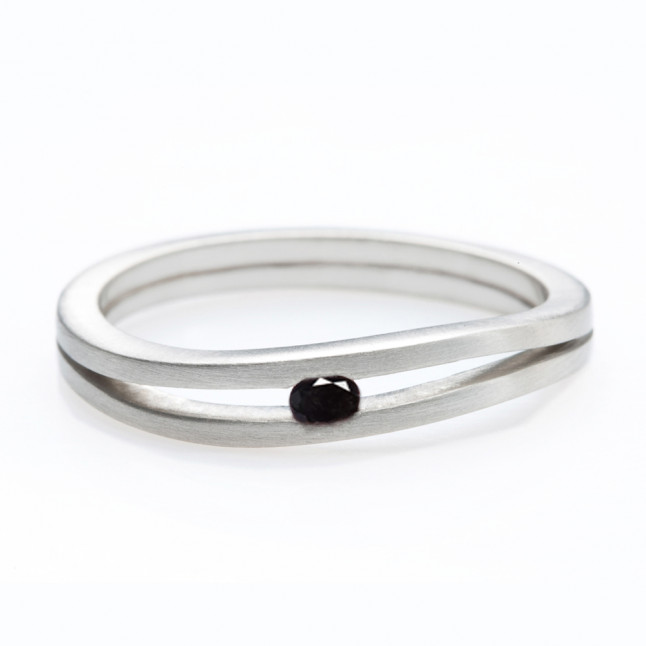Black Diamond Ring with Tension Setting
