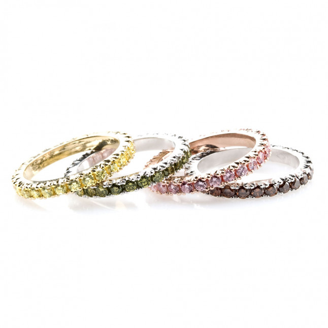 Multicolored Small Diamonds Mounted on Eternity Rings