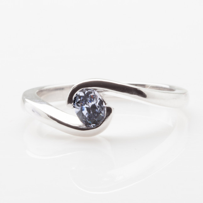 Blue Oval Diamond Ring