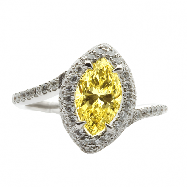 Marquise Diamond Engagement Ring in Vivid Yellow Color Natural Colored Diam