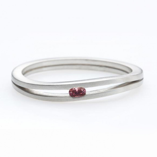 White Gold Engagement Ring Set with a Burgundy Diamond
