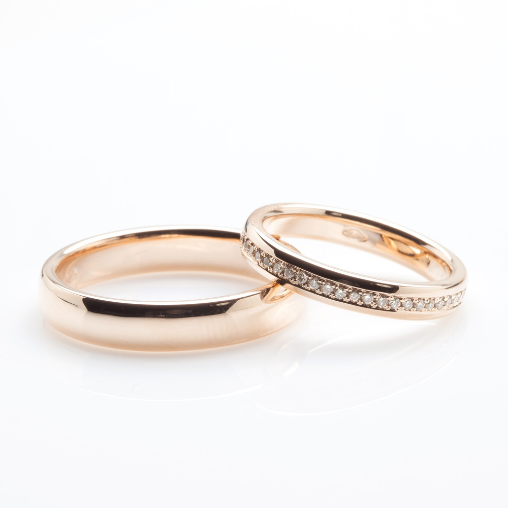 pink gold and champagne diamond wedding bands interlocking colored diamond eternity rings - Colored Wedding Rings