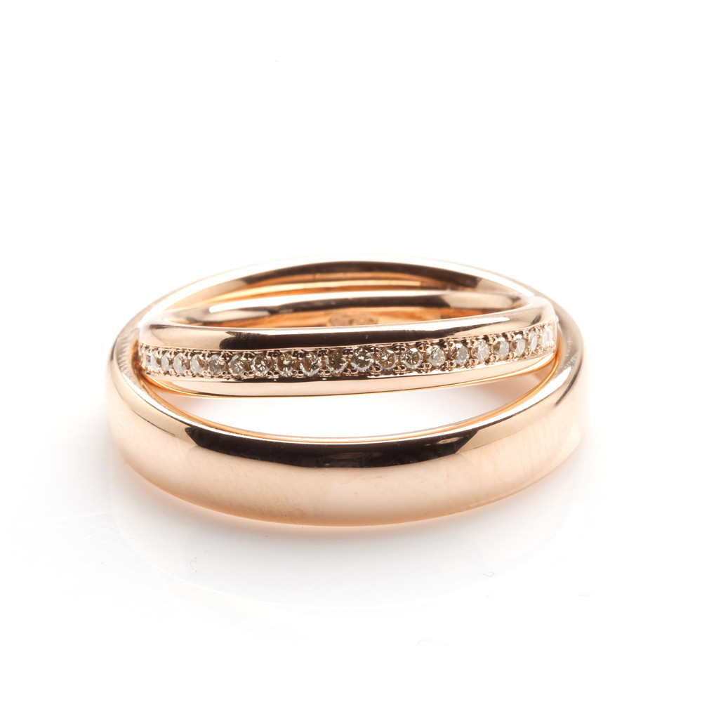 Pink Gold Diamond Bands: Pink Gold And Champagne Diamond Wedding Bands