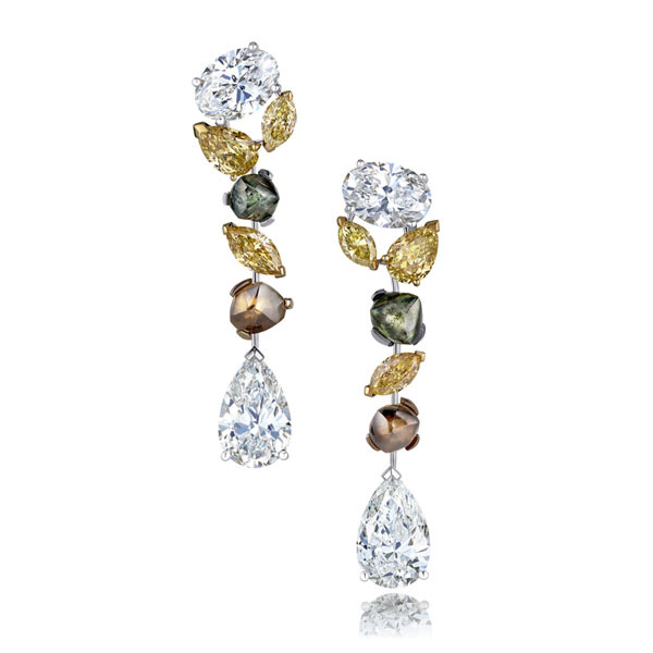 De Beers Rough and Polished Diamonds Earrings