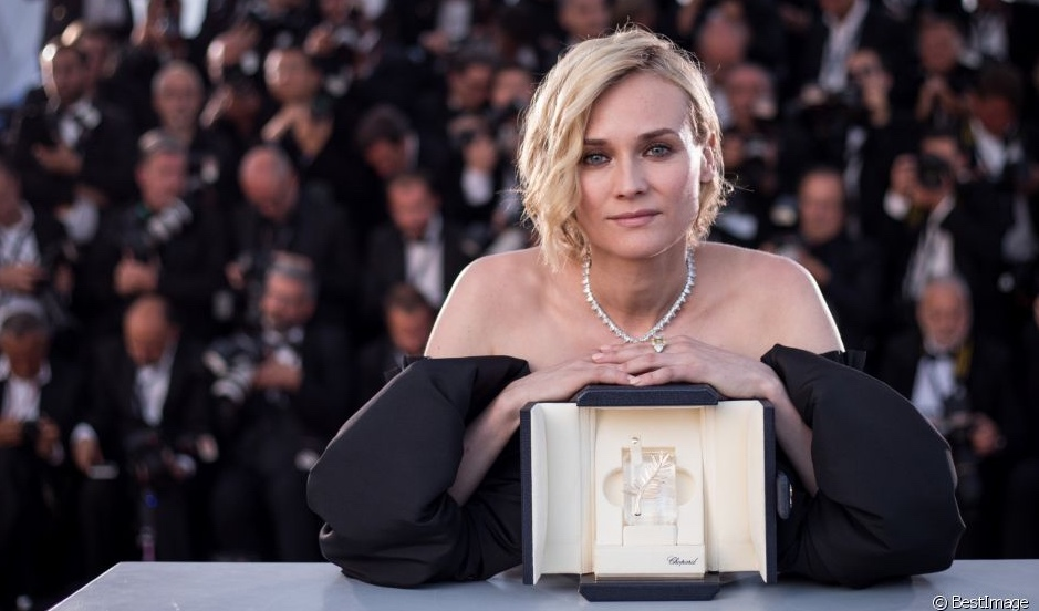Diane Kruger Cannes 2017 Best Actress - Black gown and yellow diamond