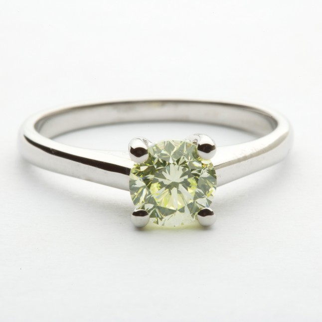Green Diamond Solitaire Ring - Langerman Jewels