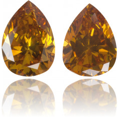 Natural Orange Diamond Pear Shape 0.60 ct Set