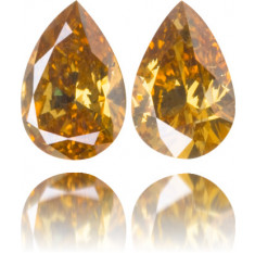 Natural Yellow Diamond Pear Shape 0.58 ct Set