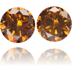 Natural Orange Diamond Round 0.72 ct Set