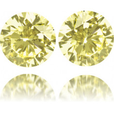 Natural Yellow Diamond Round 1.53 ct Set