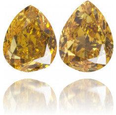 Natural Orange Diamond Pear Shape 0.43 ct Set