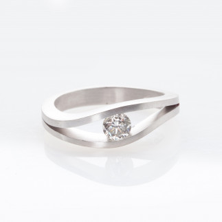 White Diamond Tension Set Ring