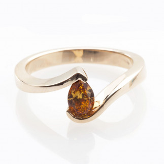 Cognac diamond tension set ring