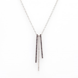 Black and White Diamond Bars Pendant