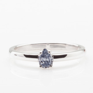 Blue Pear Diamond Ring