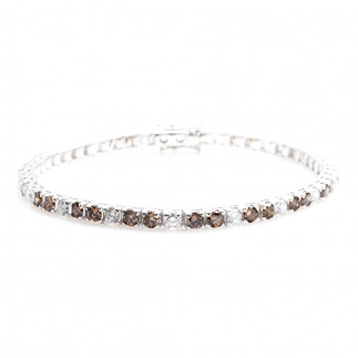Chocolate and White Diamonds Eternity Bracelet