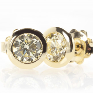 Yellow Diamond Bezel Set Studs