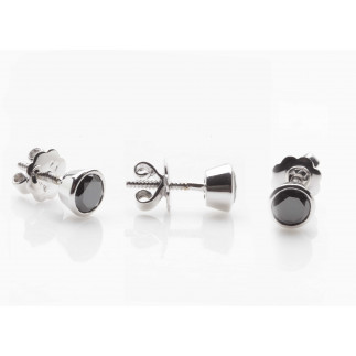 Black diamond bezel set stud earring