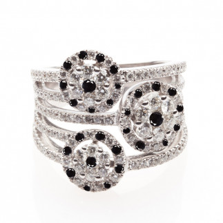 White & Black Diamond Ring with Multiple Shanks