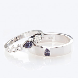 Blue pear shape wedding bands