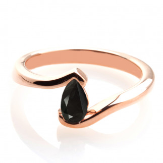 Pear Shape Black Diamond Engagement Ring